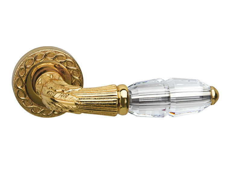 Gold colour door handle with polished finishing on rose 0R7046.000.01 | Door handle - Bronces Mestre