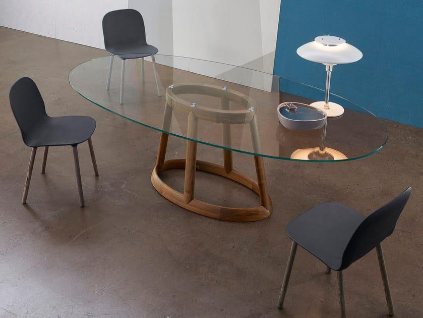 Oval crystal living room table GREENY | Crystal table - Bonaldo
