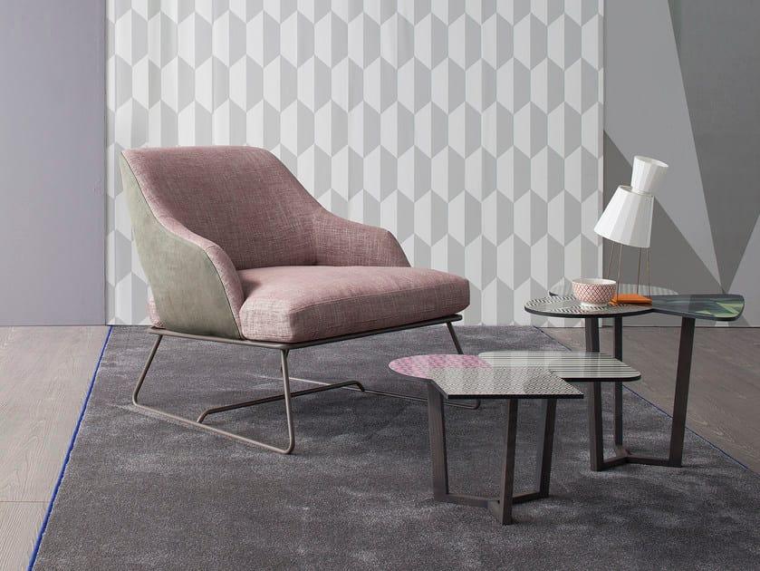 Sled base upholstered armchair BLAZER by Bonaldo