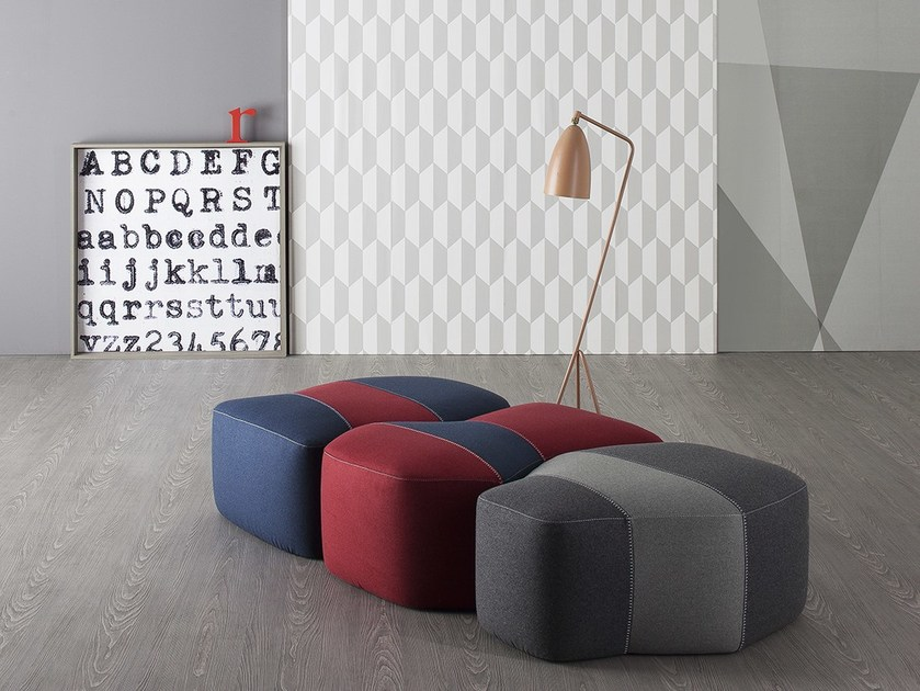 Upholstered fabric pouf EARTH, WIND, FIRE by Bonaldo