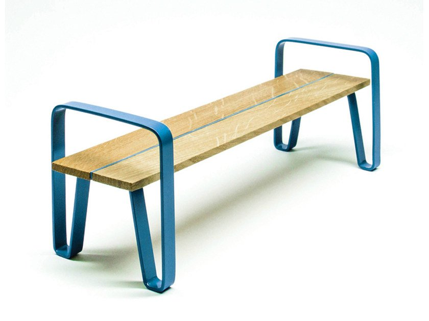 Backless steel and wood Bench COURT | Backless Bench - LAB23 Gibillero Design Collection