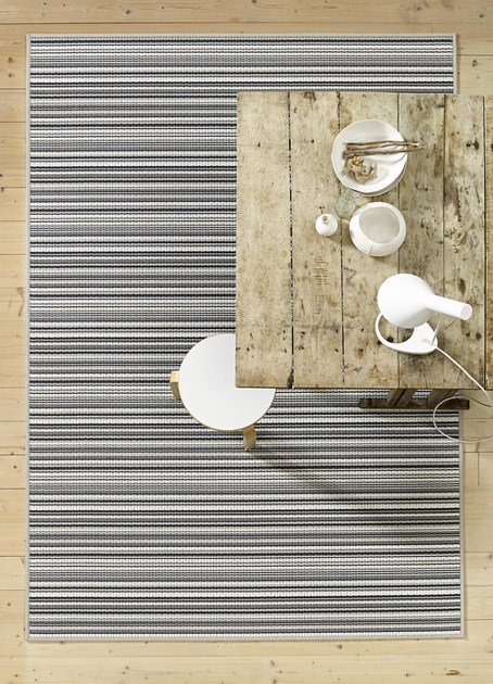 Rectangular striped paper yarn rug MIDSUMMER by Woodnotes