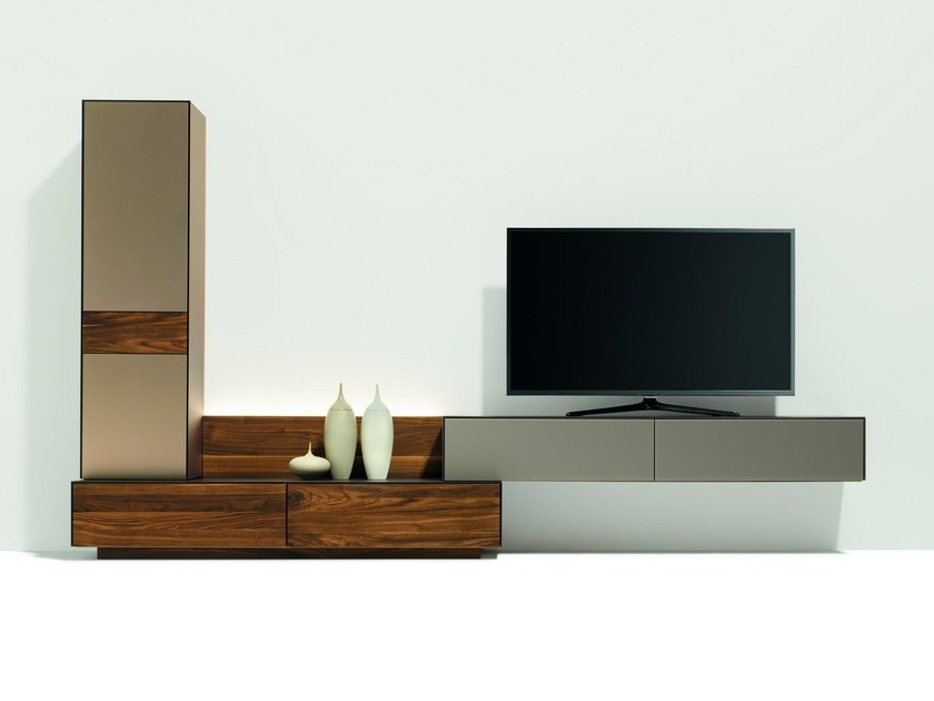 Sectional solid wood TV wall system CUBUS PURE | Storage wall - TEAM 7 Natürlich Wohnen