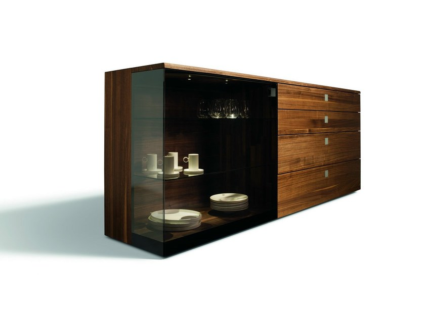 Wood and glass sideboard with drawers NOX | Sideboard with drawers by TEAM 7
