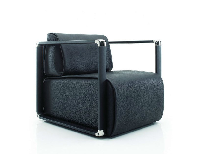 Leather armchair with armrests WRAP | Leather armchair - YOMEI