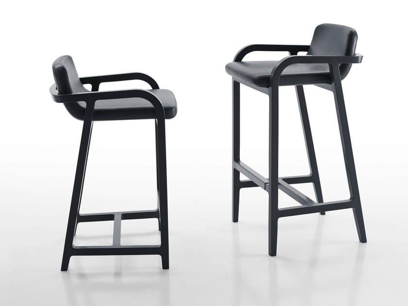 Leather counter stool FULGENS | Counter stool - Maxalto, a brand of B&B Italia Spa