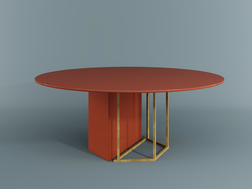 Round dining table PLINTO | Round table - Meridiani