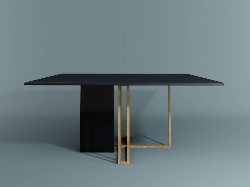 Square dining table PLINTO | Square table - Meridiani
