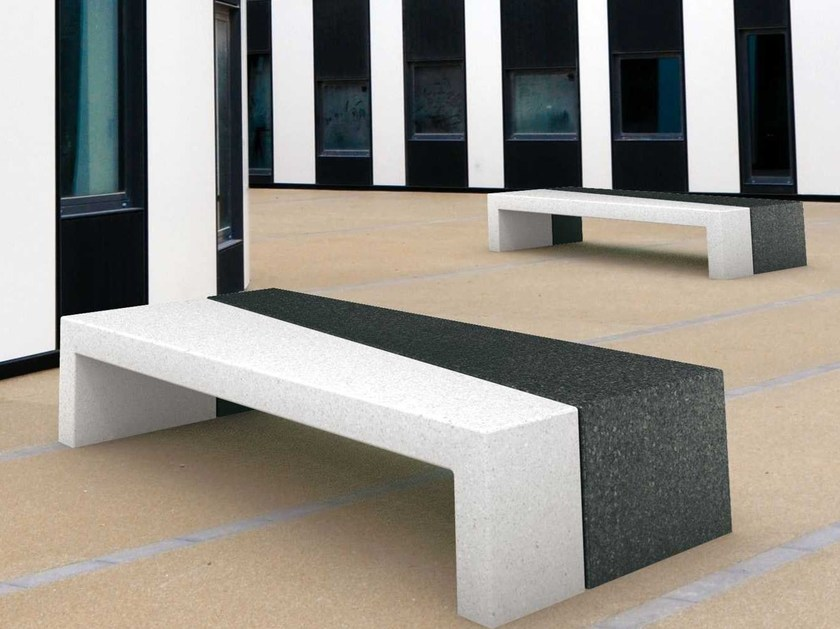 Backless reconstructed stone Bench FI-FI - Metalco