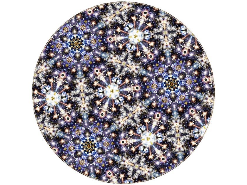 Patterned round rug FESTIVAL MIDNIGHT - Moooi©
