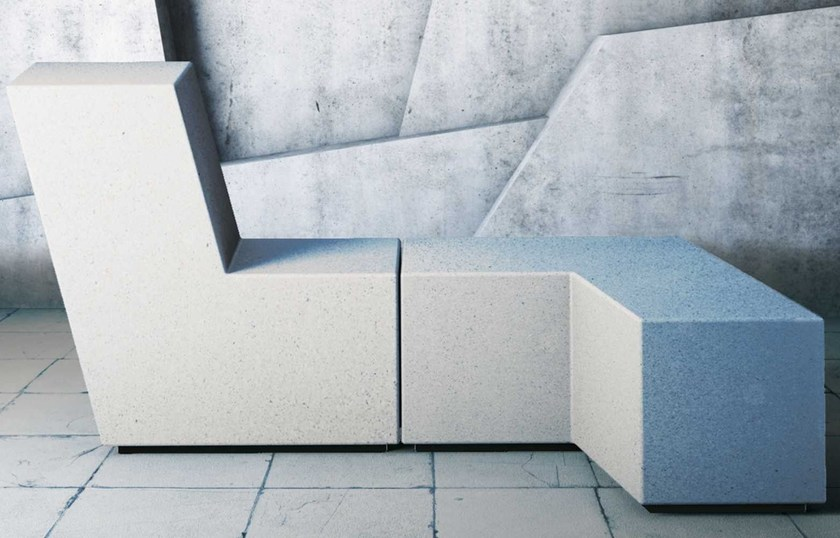 Modular reconstructed stone Bench UP | Bench by Metalco