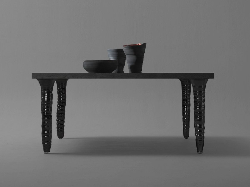 Square oak and porcelain stoneware table FANG | Square table by BD Barcelona Design
