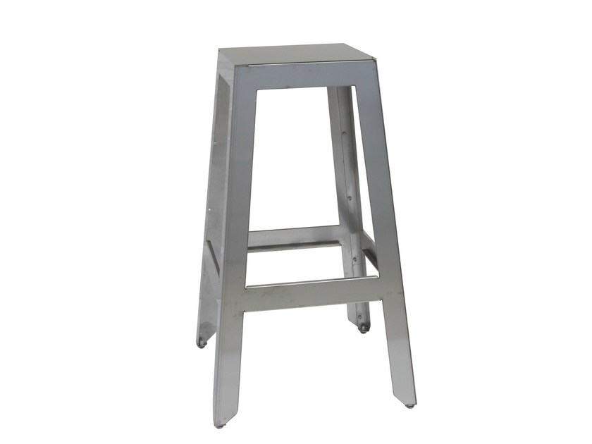 Stainless steel barstool with footrest SG-MARTINO-4 by Vela Arredamenti