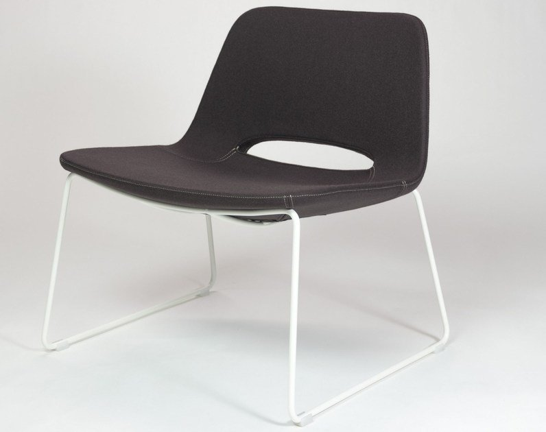 Sled base upholstered fabric easy chair KATIA   Sled base easy chair - RIFLESSI