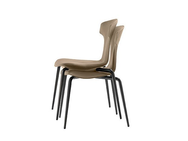 Stackable chair MONTERA | Stackable chair by Poltrona Frau
