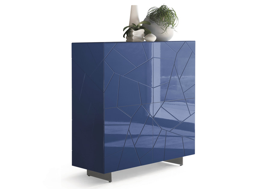 Lacquered wooden highboard with doors SEGNO S4Q | Highboard - RIFLESSI