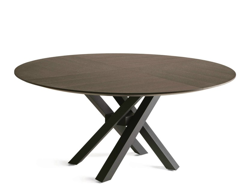 Round oak dining table SHANGAI | Oak table - RIFLESSI