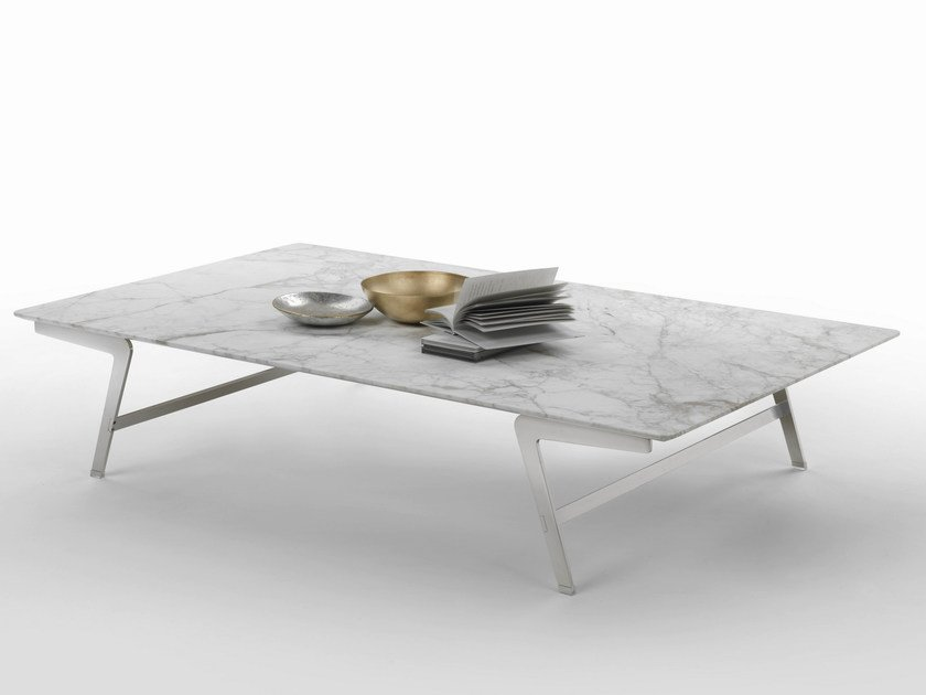 Rectangular marble coffee table SOFFIO | Marble coffee table - FLEXFORM