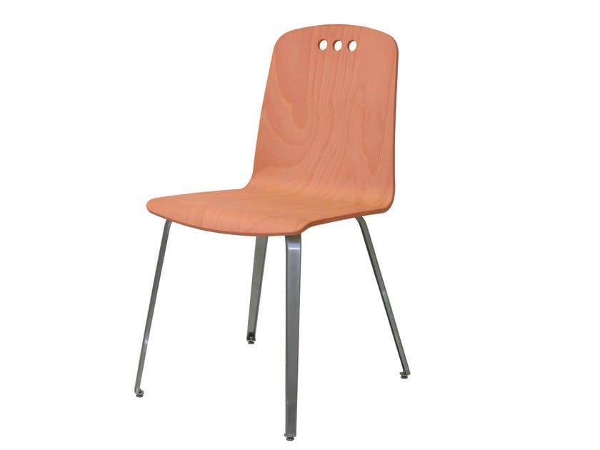 Steel and wood restaurant chair SD-NORDICO-X - Vela Arredamenti
