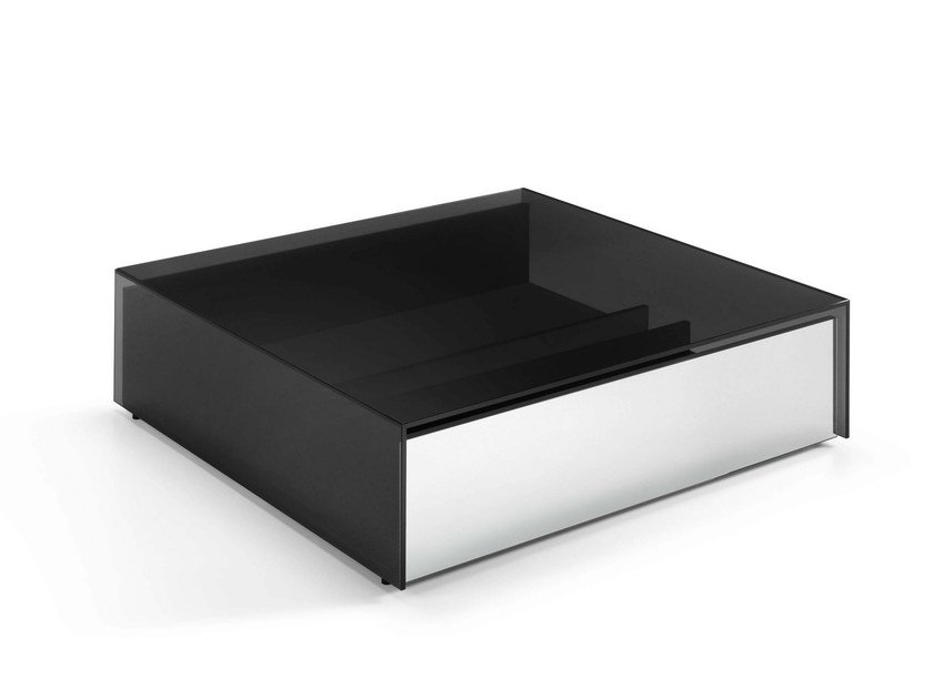 Low square glass coffee table GOTHAM | Square coffee table - T.D. Tonelli Design