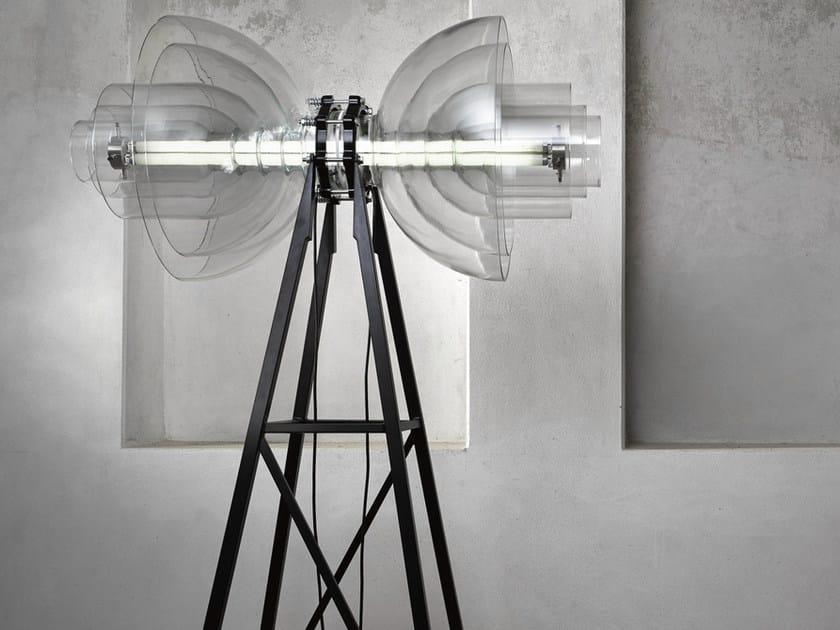 Borosilicate glass floor lamp TRANSMISSION | Floor lamp - Lasvit