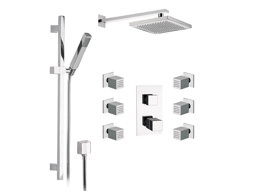 Thermostatic built-in shower panel with overhead shower OXY | Built-in shower panel - Daniel Rubinetterie