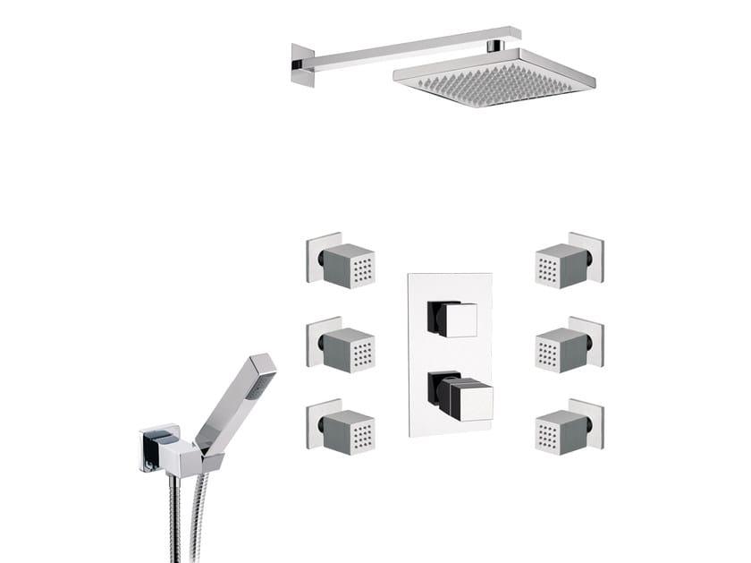Thermostatic chromed brass shower panel with overhead shower OXY | Shower panel with overhead shower - Daniel Rubinetterie