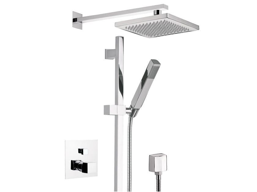 Chromed brass shower wallbar with mixer tap with overhead shower OXY | Shower wallbar with overhead shower - Daniel Rubinetterie