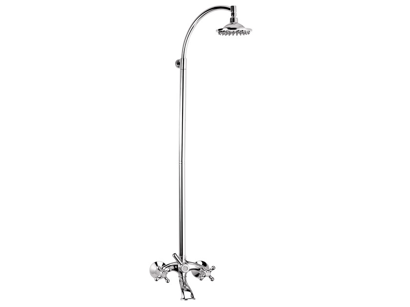 Wall-mounted chromed brass shower panel with overhead shower REVIVAL | Shower panel with overhead shower - Daniel Rubinetterie