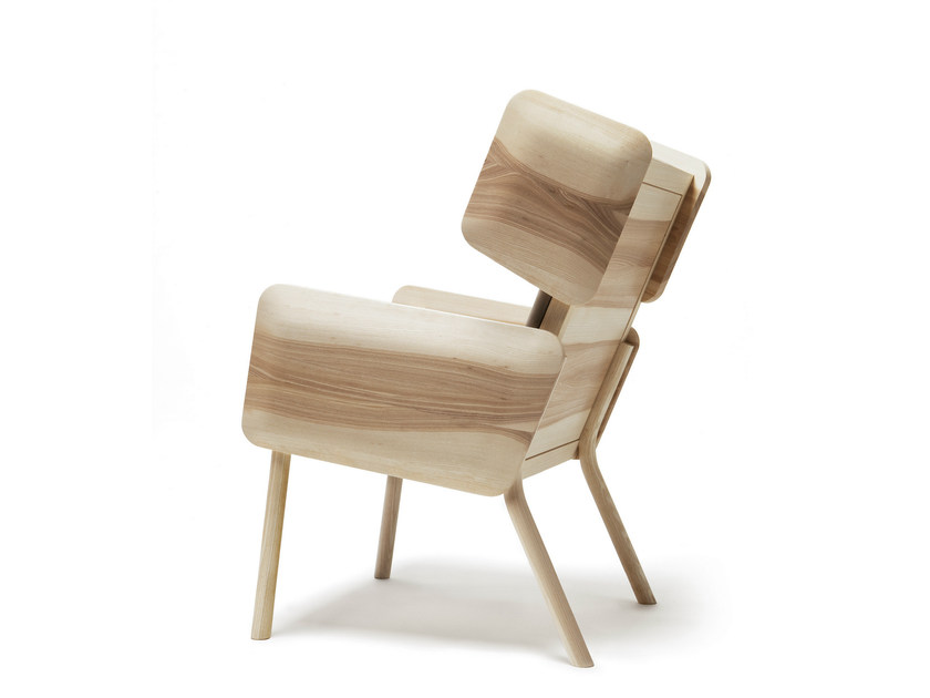 Ash easy chair with armrests HELSINKI STUDY - Nikari