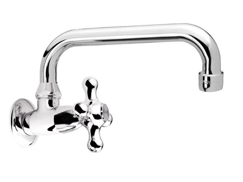 Wall-mounted 1 hole chromed brass washbasin tap REVIVAL | Wall-mounted washbasin tap - Daniel Rubinetterie
