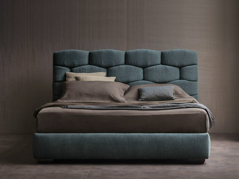 Double bed with upholstered headboard MAJAL | Double bed - Flou