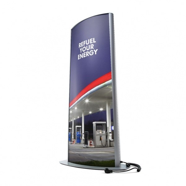 Freestanding double-sided advertising totem with built-in lights Advertising totem with built-in lights by STUDIO T