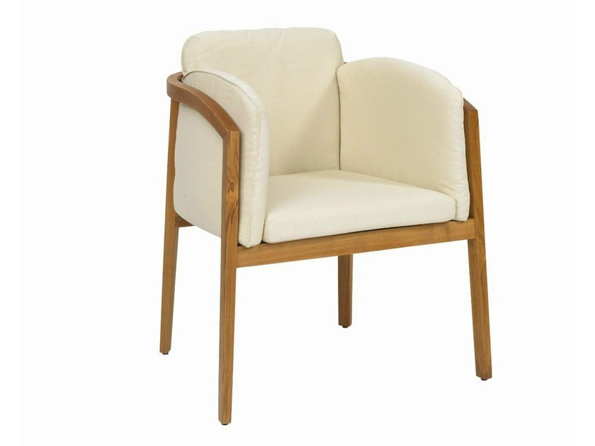 Upholstered stackable easy chair with armrests IF by Il Giardino di Legno