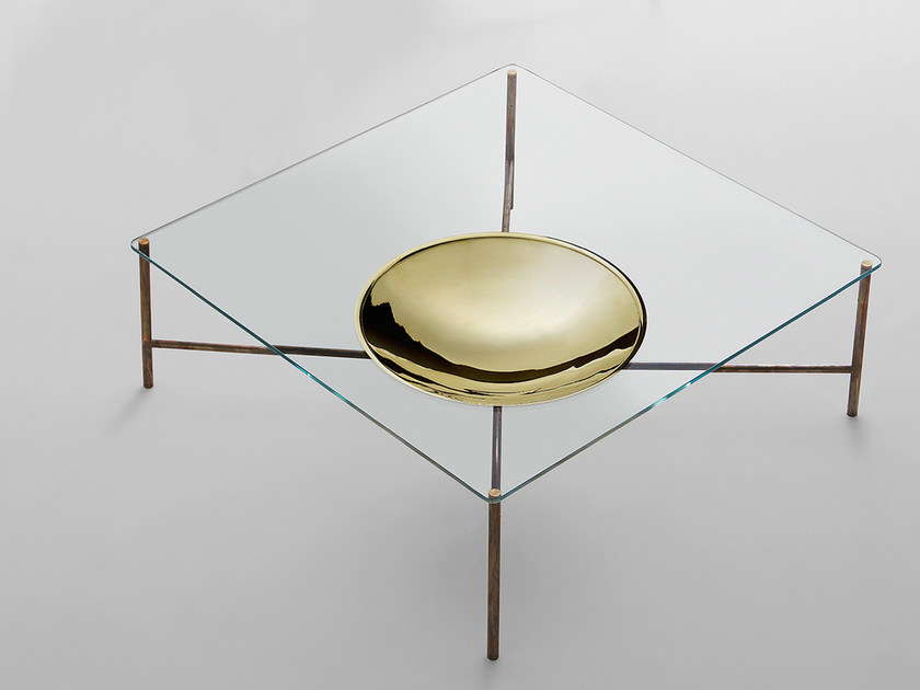 Low square coffee table for living room GOLDEN MOON | Square coffee table by Gallotti&Radice