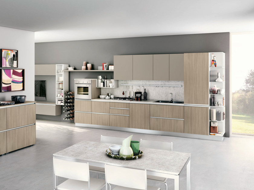 Linear fitted kitchen with integrated handles NITA - CREO Kitchens by Lube