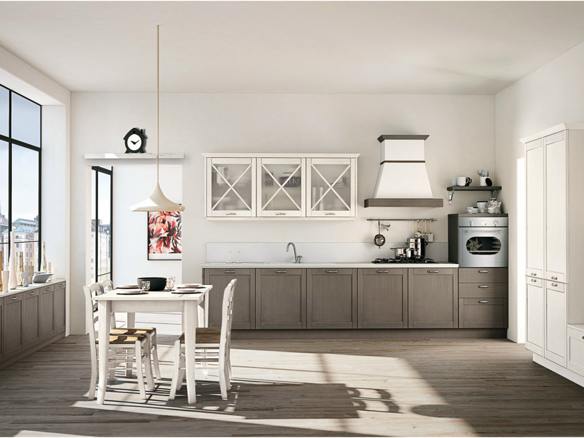 Linear spruce fitted kitchen with handles VIVIAN - CREO Kitchens by Lube