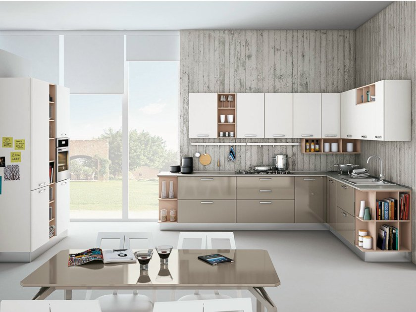 Linear fitted kitchen with handles ZOE - CREO Kitchens by Lube