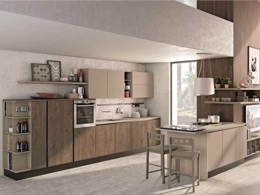 Fitted kitchen with peninsula without handles KYRA NECK - CREO Kitchens by Lube