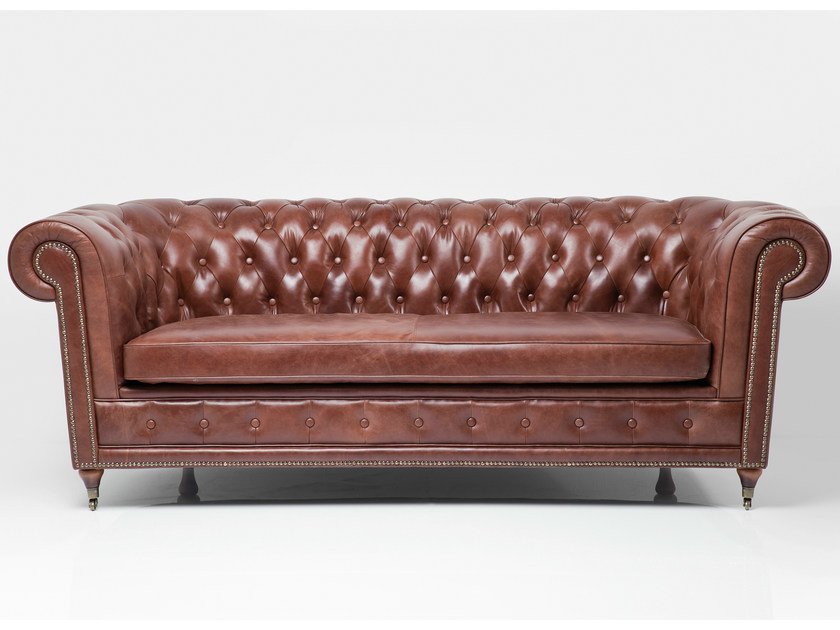 Tufted 3 seater leather sofa OXFORD VINTAGE ECO | Sofa - KARE-DESIGN