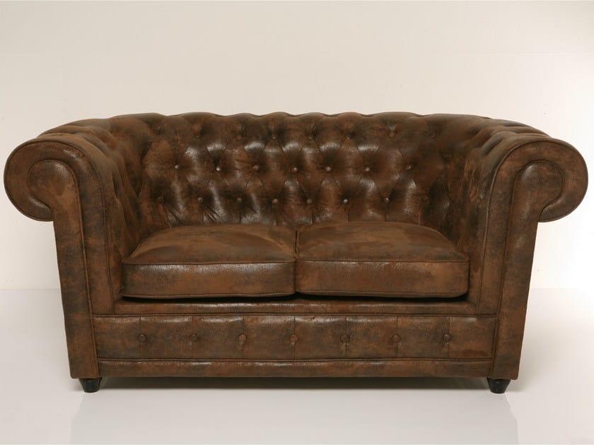 Tufted 2 seater leather sofa OXFORD | 2 seater sofa - KARE-DESIGN