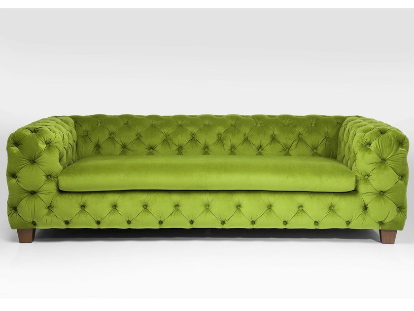 3 seater tufted fabric sofa MY DESIRE GREEN - KARE-DESIGN