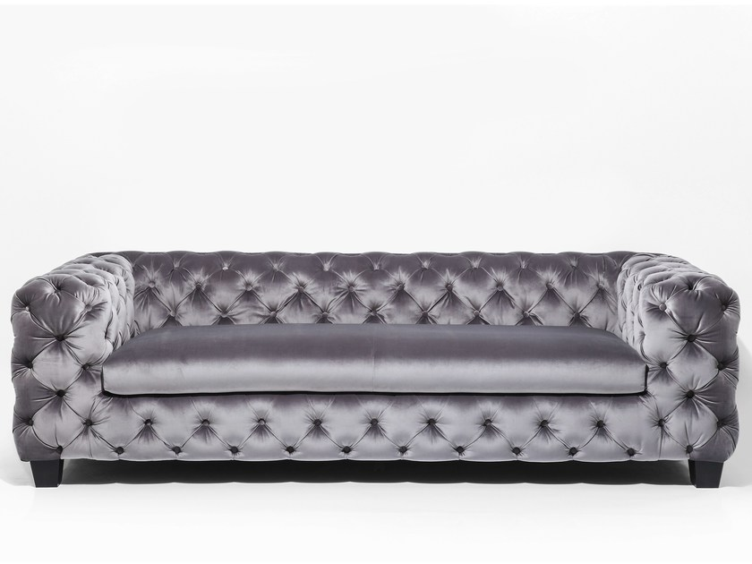 3 seater tufted fabric sofa MY DESIRE GREY - KARE-DESIGN