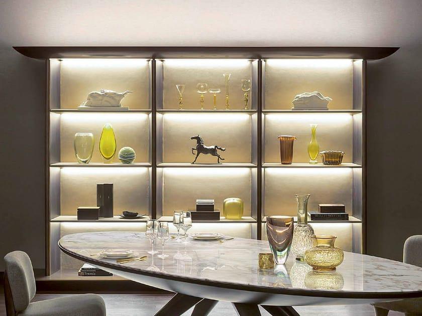 Libreria con illuminazione kara libreria natevo for Vetrine in cristallo arredamento