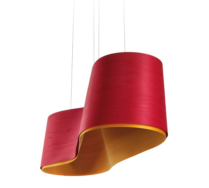 Handmade wood veneer pendant lamp NEW WAVE - LZF