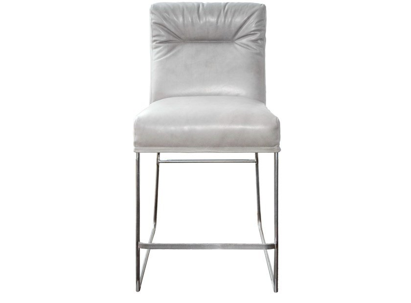 Upholstered leather counter stool D-LIGHT | Counter stool - KFF