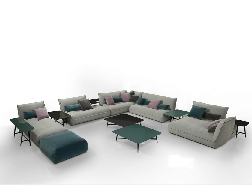 Modular tanned leather sofa OCTET - ROCHE BOBOIS