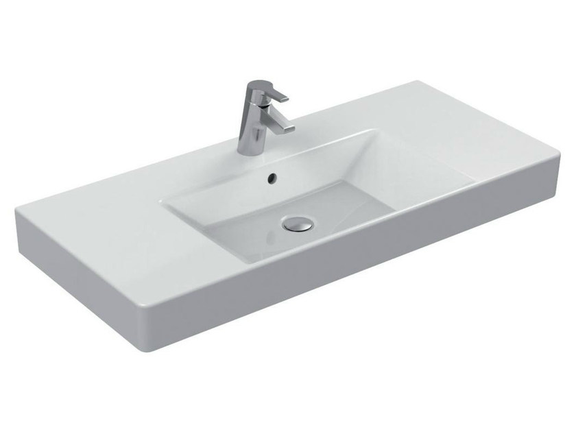 Rectangular single ceramic washbasin with integrated countertop STRADA - K0809 - Ideal Standard Italia