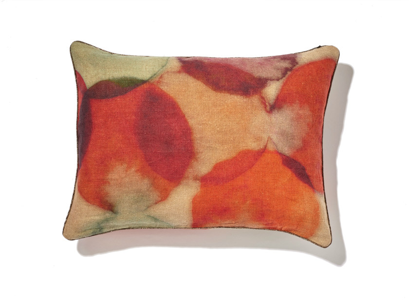 Rectangular linen cushion with removable cover BULLES by Élitis