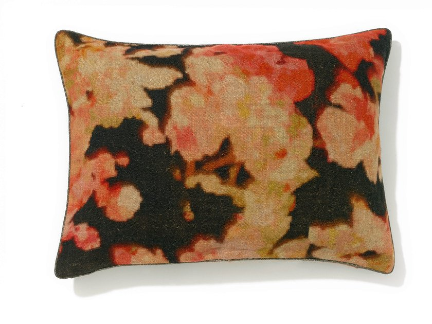 Rectangular linen cushion with removable cover BLOSSOM by Élitis